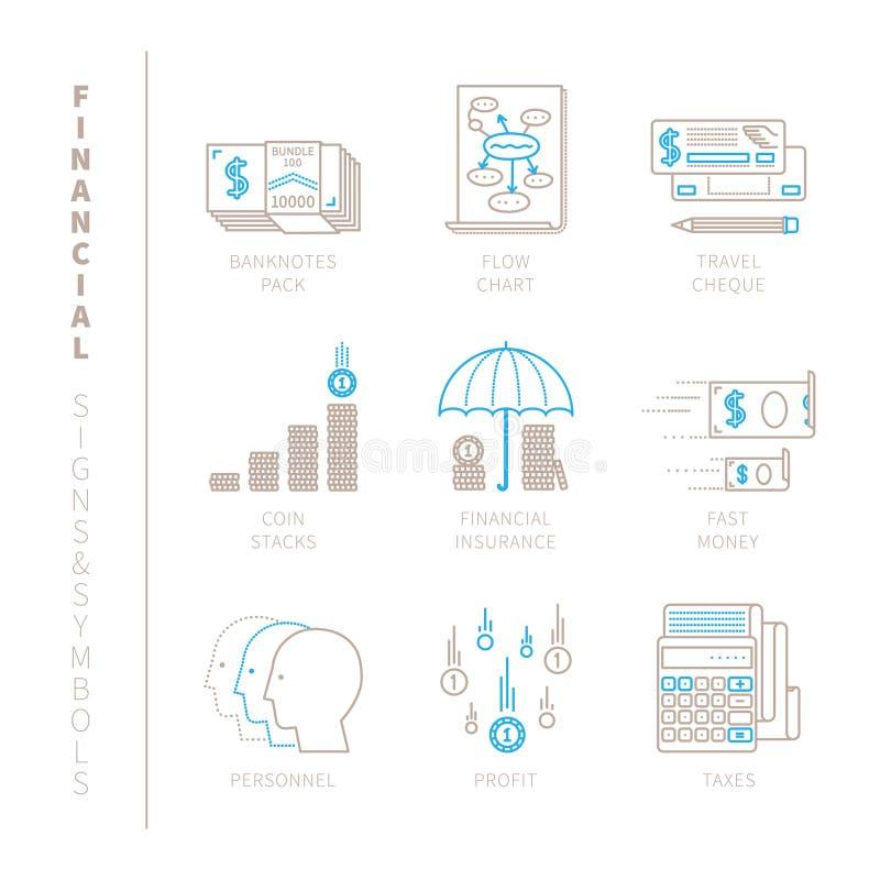 Reeks vector financiële pictogrammen en concepten in mono dunne lijnstijl royalty-vrije illustratie