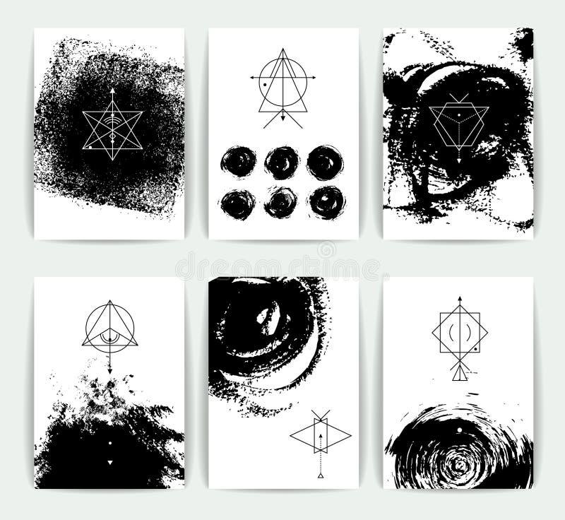 Reeks vector geometrische alchimiesymbolen op hand-drawn achtergrond stock illustratie