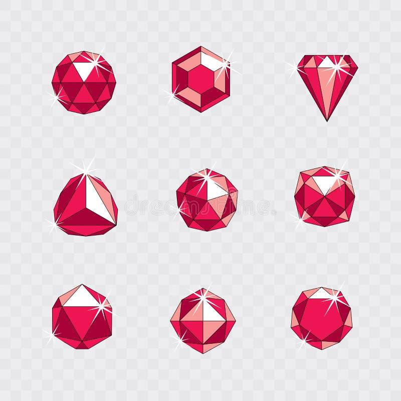 Reeks vector glanzende rode robijnrode gemmenillustraties Creatieve busin vector illustratie