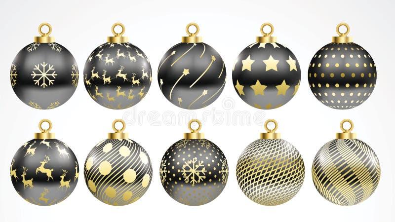 Reeks vector gouden en zwarte Kerstmisballen met ornamenten de gouden inzameling isoleerde realistische decoratie Vector illustra stock illustratie
