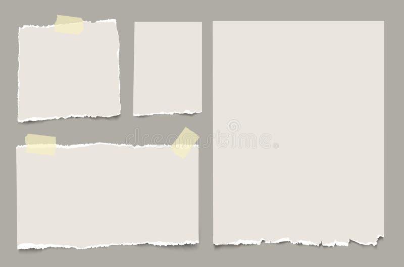Reeks vector grijze gescheurde randdocumenten met plakband N'art -n'art-ure vector illustratie