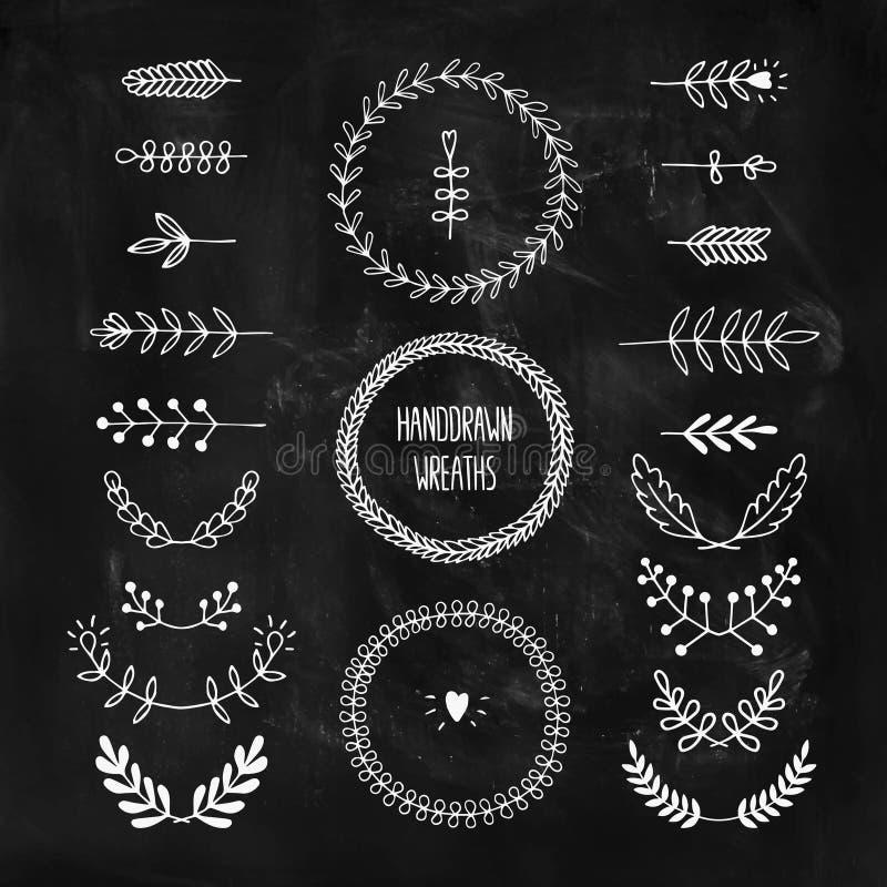 Reeks vector handdrawn laurels en kronen stock illustratie