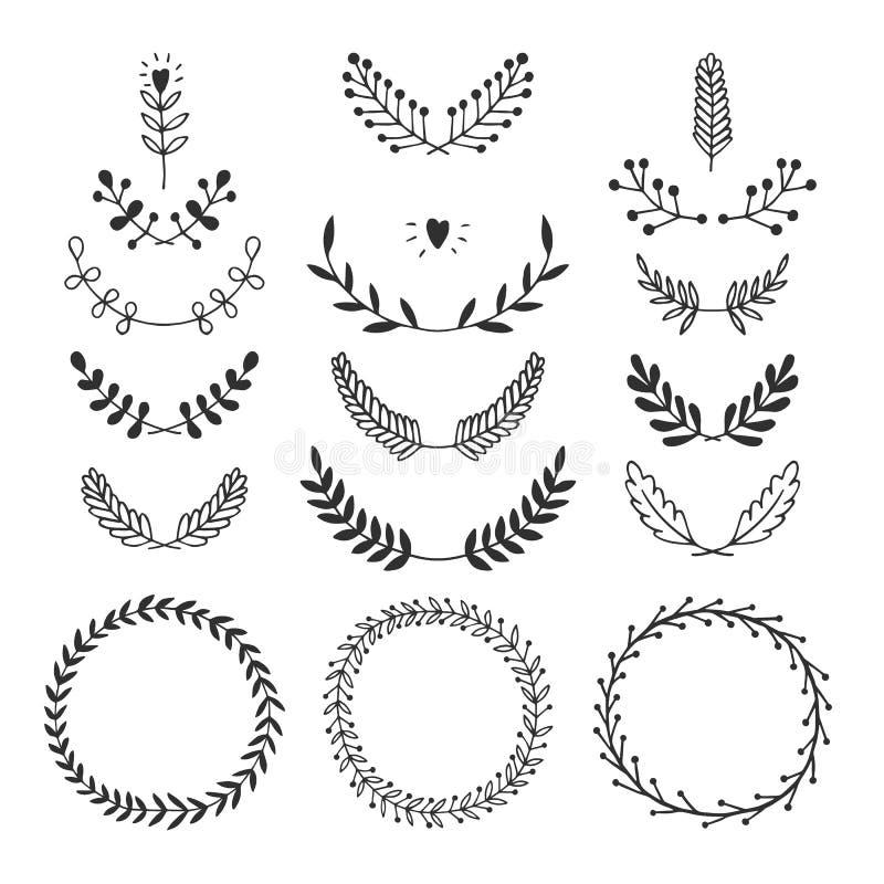 Reeks vector handdrawn laurels en kronen royalty-vrije illustratie