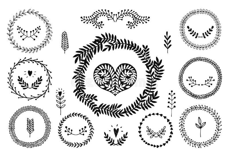 Reeks vector handdrawn laurels, kroon royalty-vrije illustratie