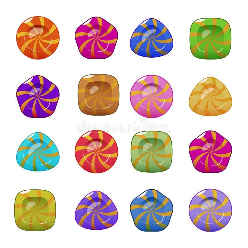 Reeks vector helder kleurrijk glanzend suikergoed vector illustratie