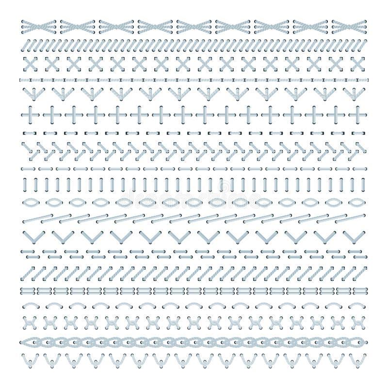 Reeks vector het patroonborstels van de borduurwerksteek royalty-vrije illustratie