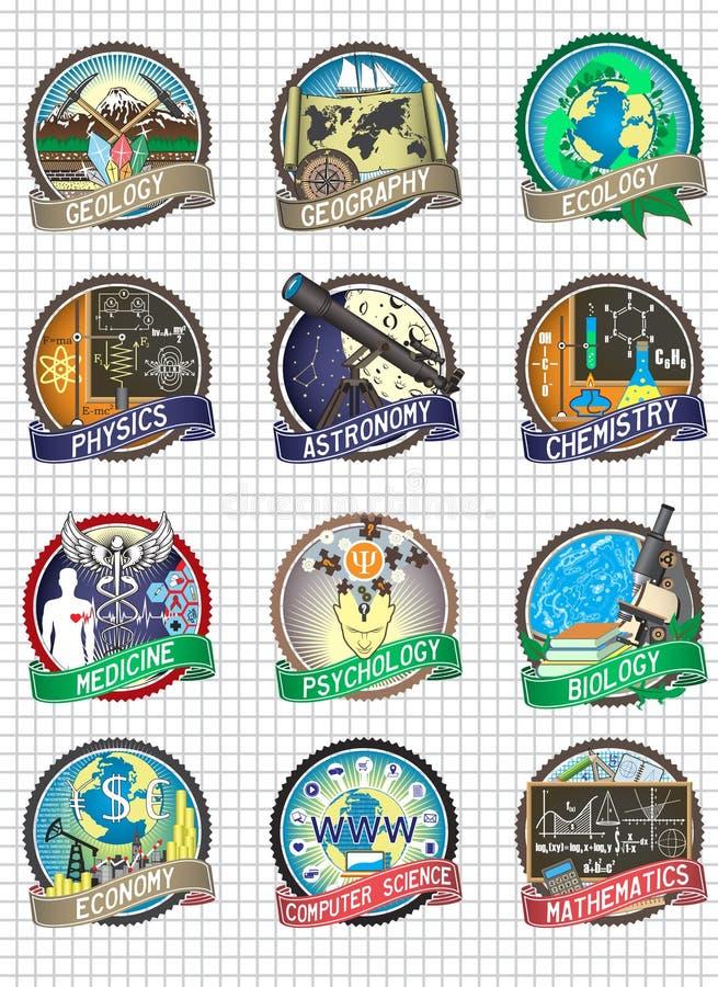 Reeks vector kleurrijke kentekens en etiketten Wetenschap en schooldisciplines