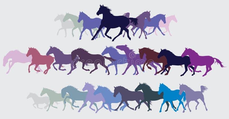 Reeks vector kleurrijke lopende paardensilhouetten royalty-vrije illustratie
