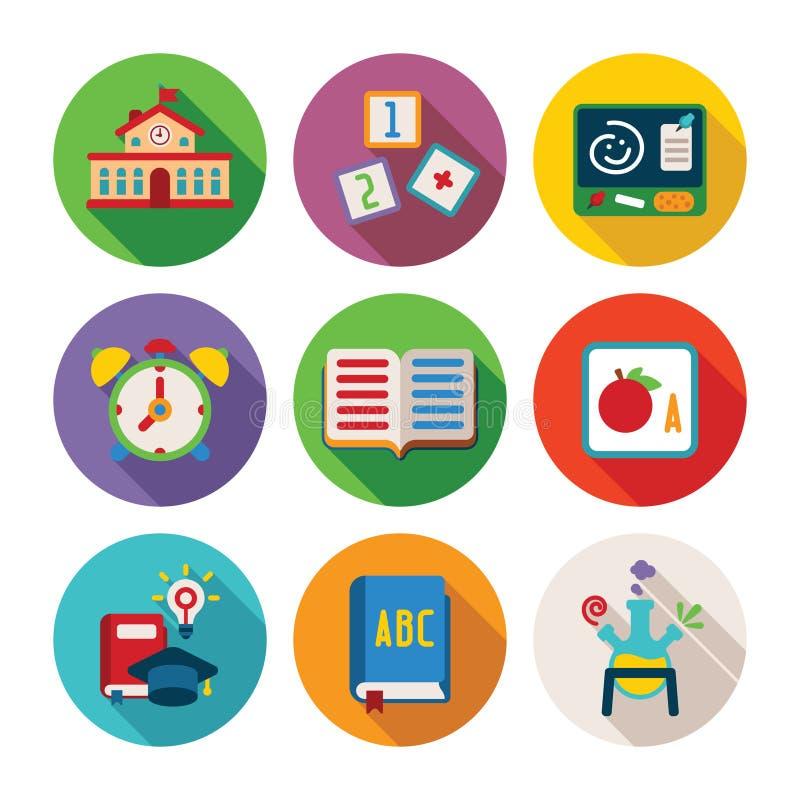 Reeks vector kleurrijke onderwijspictogrammen in vlakke stijl stock illustratie
