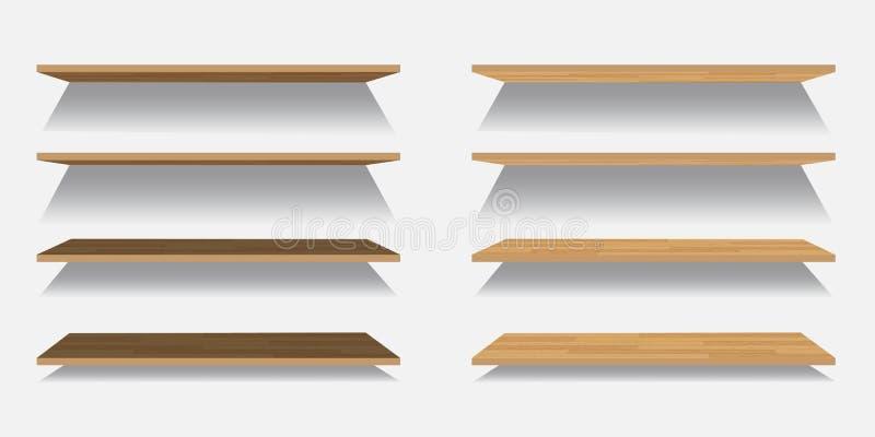 Reeks Vector lege houten of plastic die planken op witte achtergrond worden geïsoleerd royalty-vrije illustratie