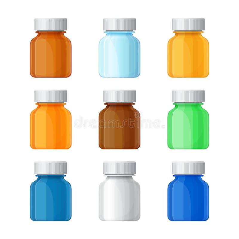 Reeks vector medische flessen in vlakke stijl vector illustratie
