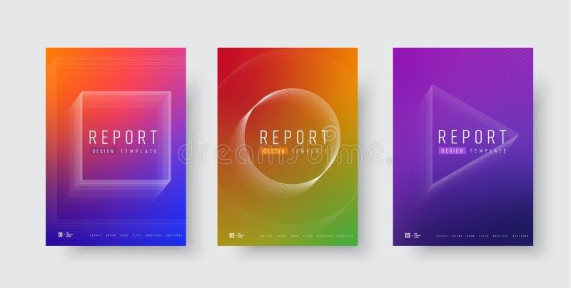 Reeks vector moderne dekking voor rapporten en catalogi met gradiënt en geometrische vormen van lijnen royalty-vrije illustratie
