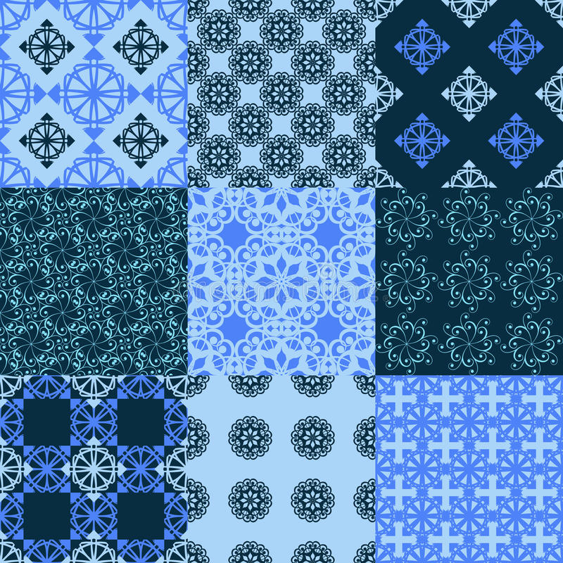 Reeks vector naadloze geometrische patronen royalty-vrije illustratie