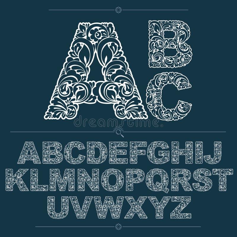 Reeks vector overladen kapitalen, bloem-gevormd typescript Blac royalty-vrije illustratie