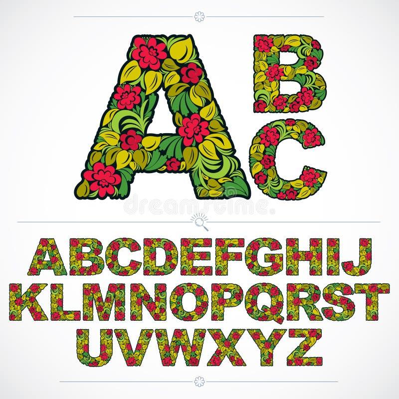 Reeks vector overladen kapitalen, bloem-gevormd typescript colo vector illustratie