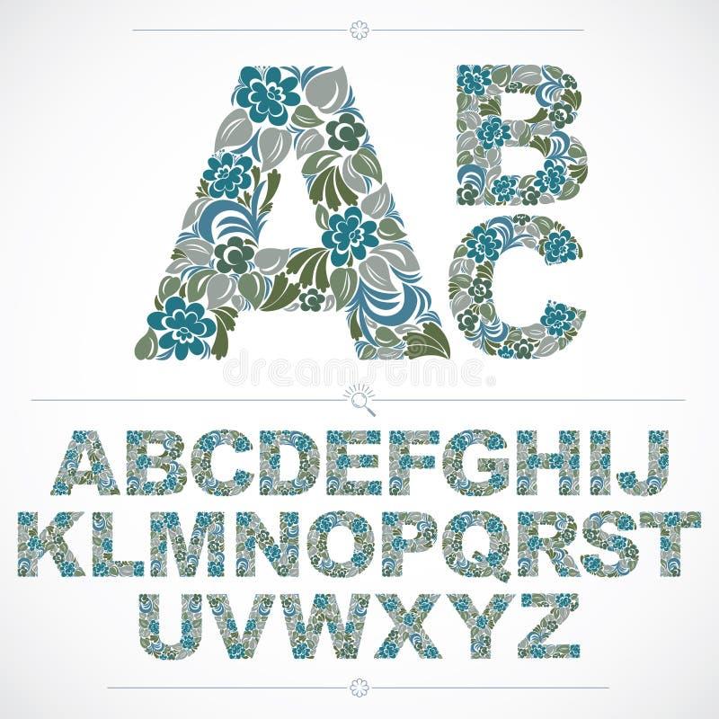 Reeks vector overladen kapitalen, bloem-gevormd typescript colo royalty-vrije illustratie