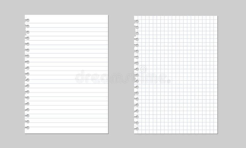 Reeks vector realistische geïsoleerde illustraties van een gescheurd blad van document van een werkboek met schaduw, royalty-vrije illustratie