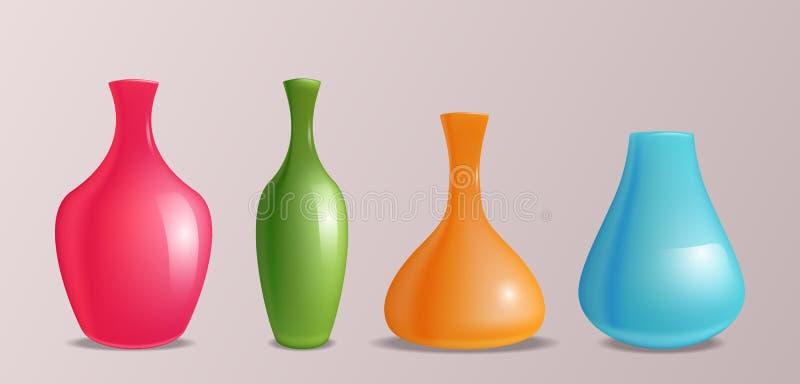 Reeks vector realistische kleurrijke vazen vector illustratie