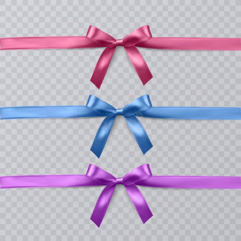 Reeks vector realistische roze, purpere en blauwe lint en bogen op transparante achtergrond Vectoreps 10 vector illustratie