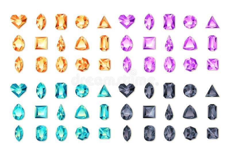 Reeks vector realistische turkooise, zwarte, purpere, oranje gemmen en juwelen op witte achtergrond Veelkleurige glanzende diaman vector illustratie