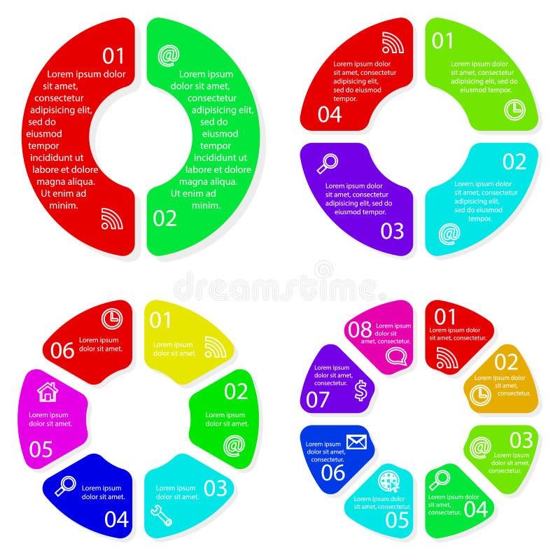 Reeks vector ronde infographic diagrammen stock illustratie