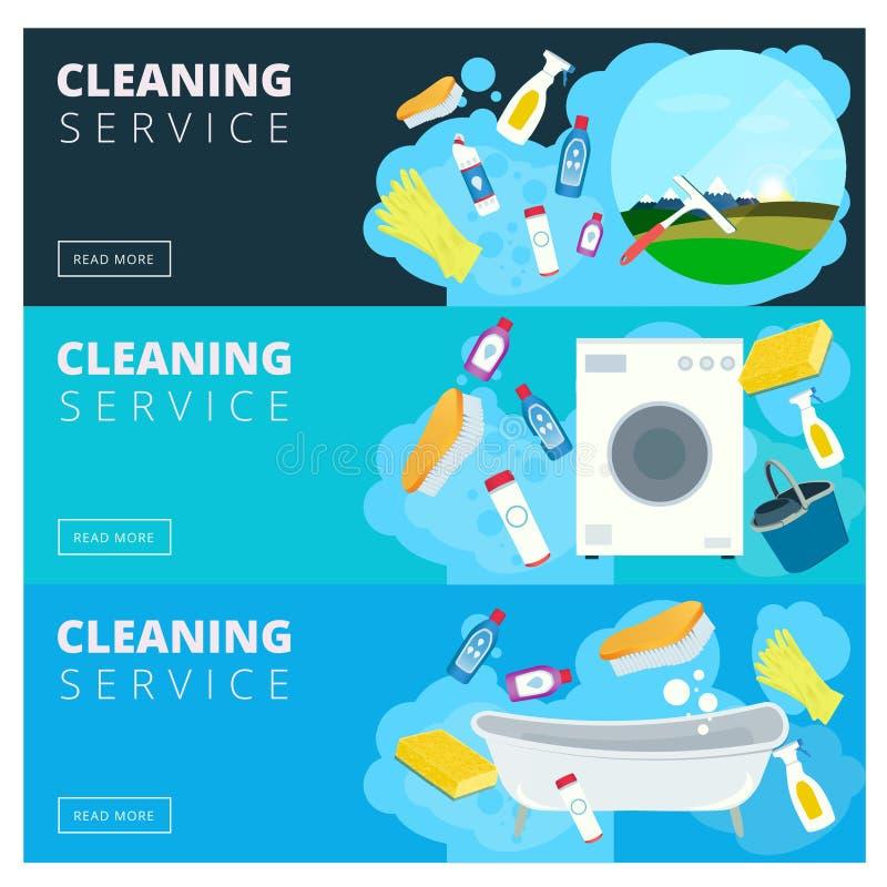 Reeks vector schoonmakende de plaatsbanners van het de dienstbedrijf in vlakke styl vector illustratie