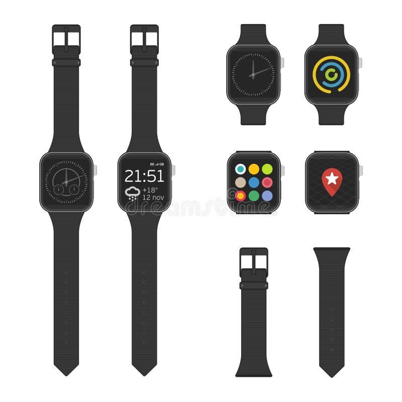 Reeks vector slimme horloges vector illustratie