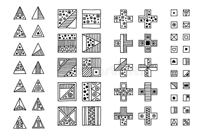 Reeks vector stammentekens, symbolen, pictogrammen Hand getrokken elementen royalty-vrije illustratie