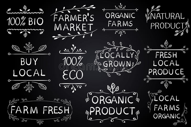 Reeks VECTOR typografische elementen op bord De landbouwersmarkt, bewerkt vers ecovoedsel op witte achtergrond Groene lijnen vector illustratie