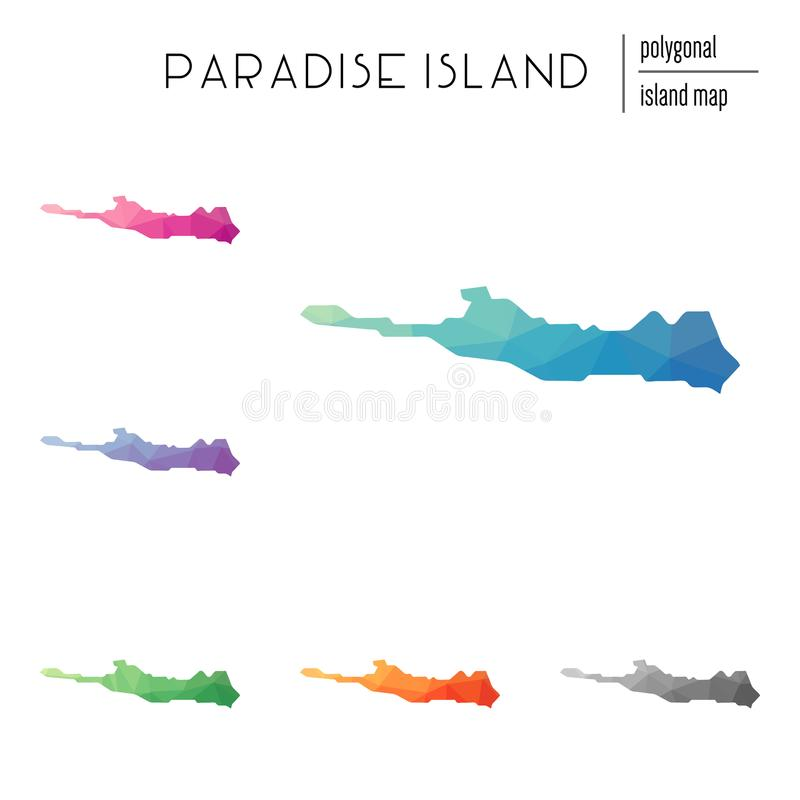 Reeks vector veelhoekige kaarten van het Paradijseiland stock illustratie