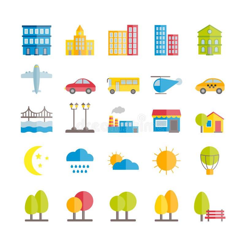 Reeks vector vlakke de elementenpictogrammen van het stadslandschap stock illustratie