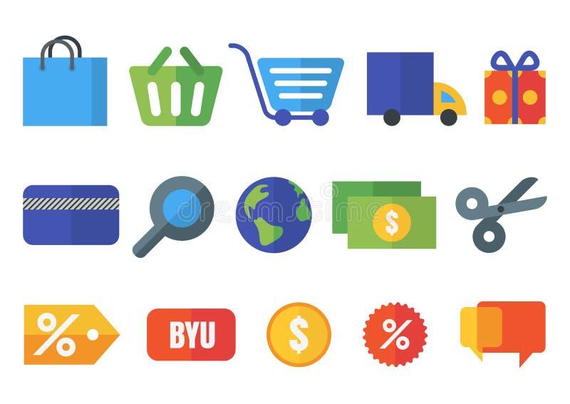 Reeks vector vlakke het winkelen pictogrammen Ontwerpconcept voor online sho stock illustratie