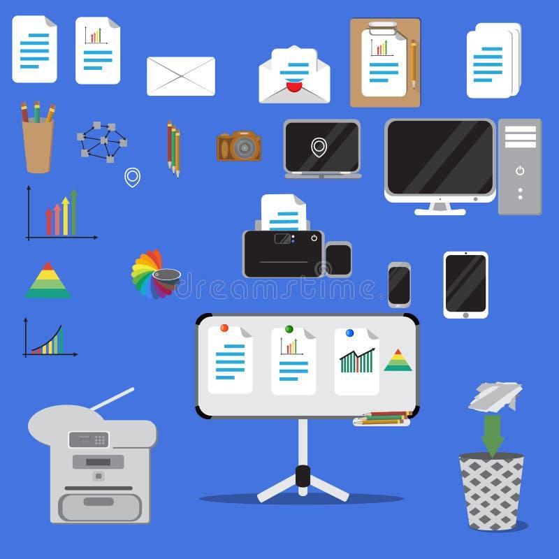 Reeks vector vlakke pictogrammen van het ontwerpconcept van kantoorbenodigdheden royalty-vrije illustratie