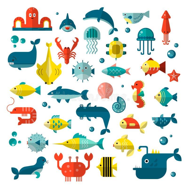 Reeks vector vlakke sealifeelementen, planten en overzeese dieren - haai, kwallen, octopus en anderen Inzameling van modern stock illustratie