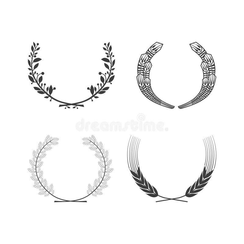 Reeks vector zwart-witte cirkel bladerrijke kronen voor de wapenkunde en de adel van de toekenningsvoltooiing vector illustratie