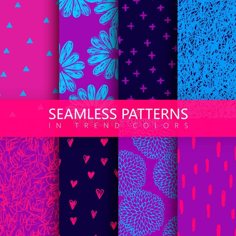 Reeks vectorachtergronden met bloemen, krabbelpatroon, chaotische lijnen, harten stock illustratie