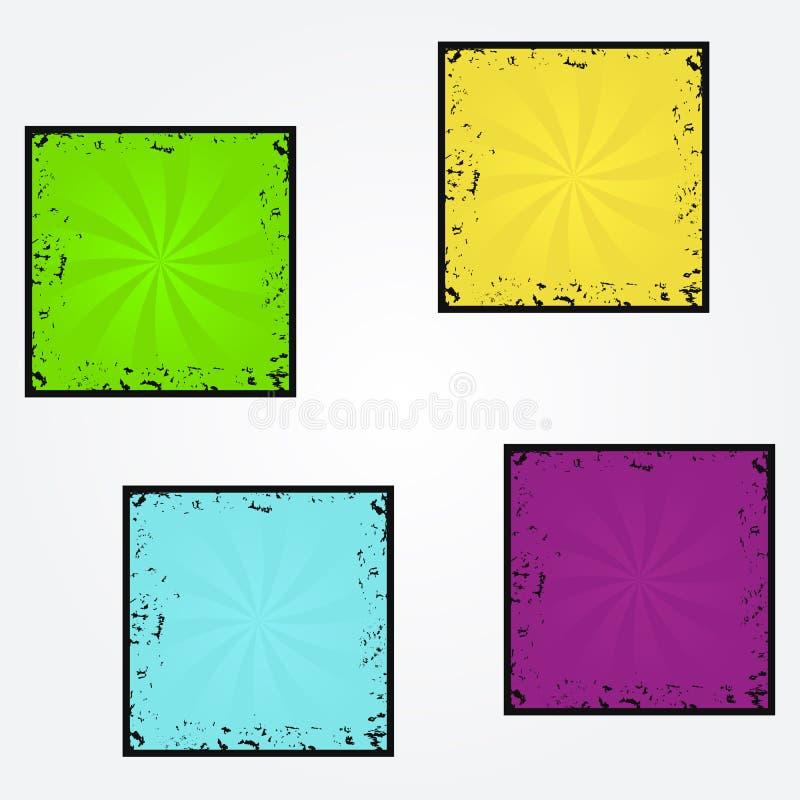 Reeks vectorachtergronden van de zonnestraal retro textuur grunge, heldere kleuren stock illustratie
