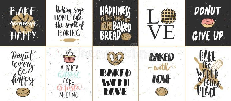 Reeks vectorbakkerij van letters voorziende affiches, groetkaarten stock illustratie