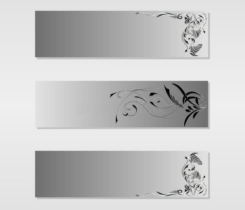Reeks vectorbanners met zwart-witte abstracte bloementatoegeringsornamenten vector illustratie