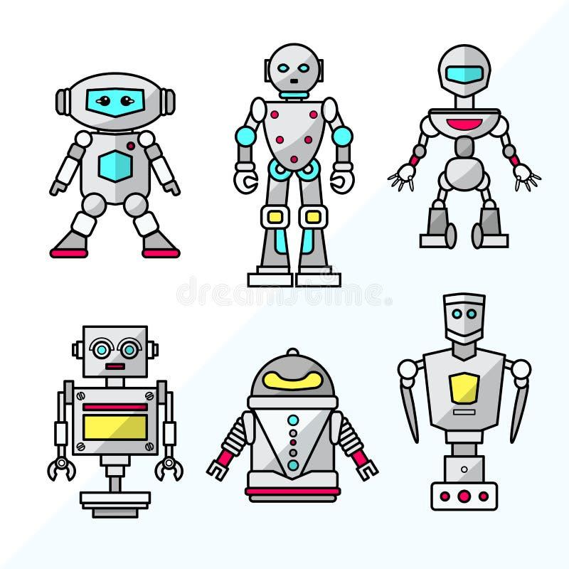 Reeks vectorbeeldverhaal vriendschappelijke robots stock afbeelding