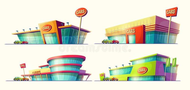 Reeks vectorbeeldverhaalillustraties, diverse gebouwen, de centra van de autoverkoop, autohuur stock illustratie