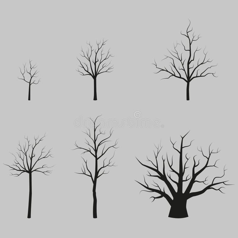 Reeks vectorbomen zwarte silhouetten zonder bladeren royalty-vrije illustratie