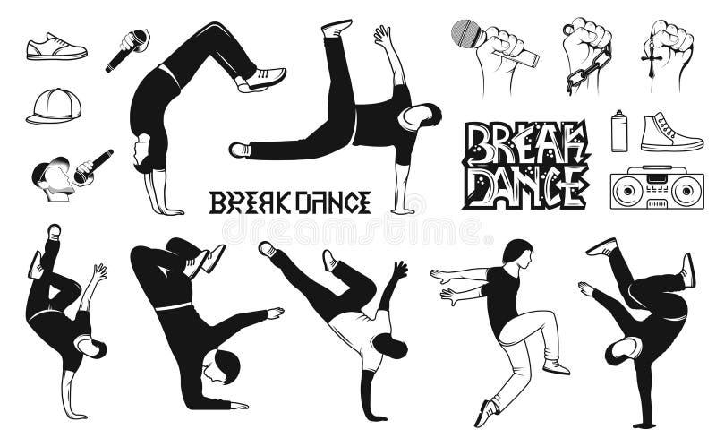 Reeks Vectorbreakdance-Mensensilhouetten stock illustratie