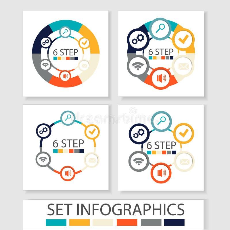 Reeks vectorcirkels en andere elementen voor infographic Malplaatje voor cyclusdiagram, grafiek, presentatie Bedrijfsconcept met  stock illustratie