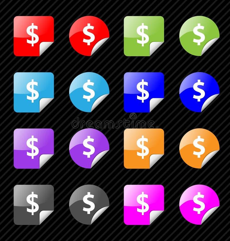 Reeks vectordollar kleverige kentekens stock illustratie