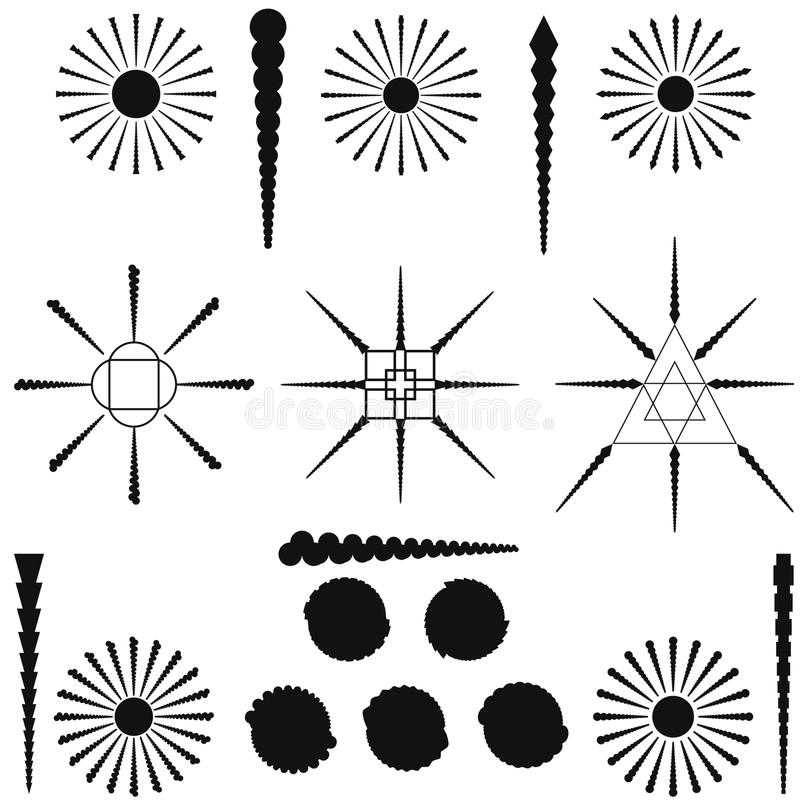 Reeks vectorelementen Stammentekeningen stock illustratie