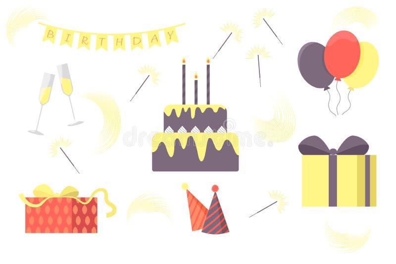 Reeks vectorelementen van de verjaardagspartij Heldere ballons, vlaggen, sterretjes, cake, giften, wieldoppen, wijnglazen royalty-vrije stock afbeelding
