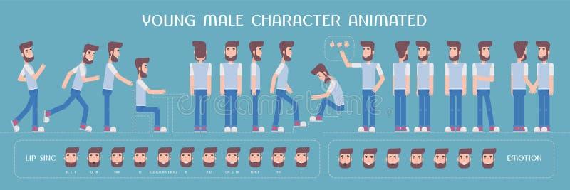 Reeks vectorelementen voor de mens, de verwezenlijking van het kerelkarakter en animatie vector illustratie