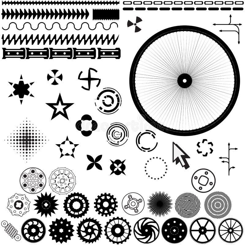 Reeks vectorelementen voor ontwerp - toestellen, wielen vector illustratie