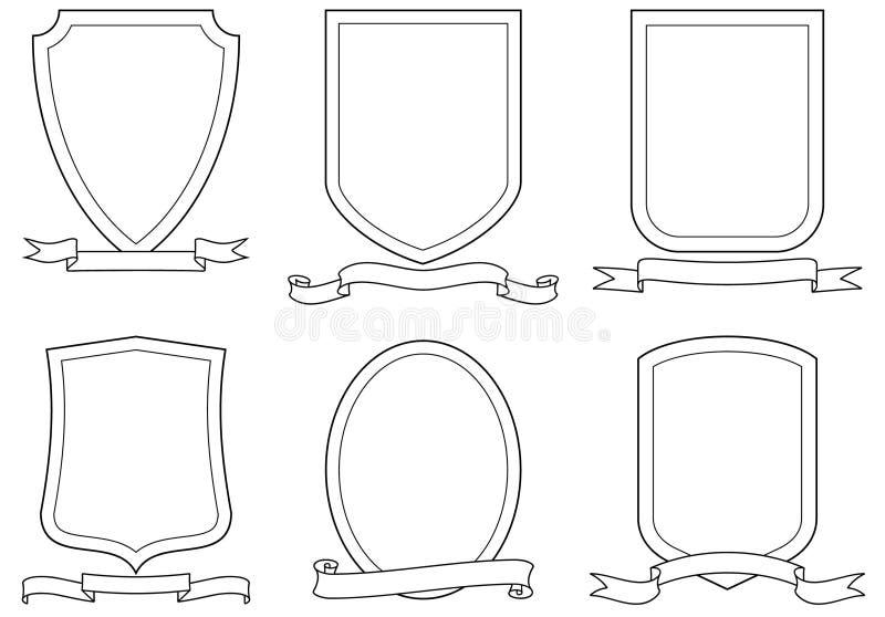 Reeks vectoremblemen, kammen, schilden en rollen royalty-vrije illustratie